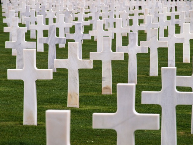 Military cemetery crosses normandy.
