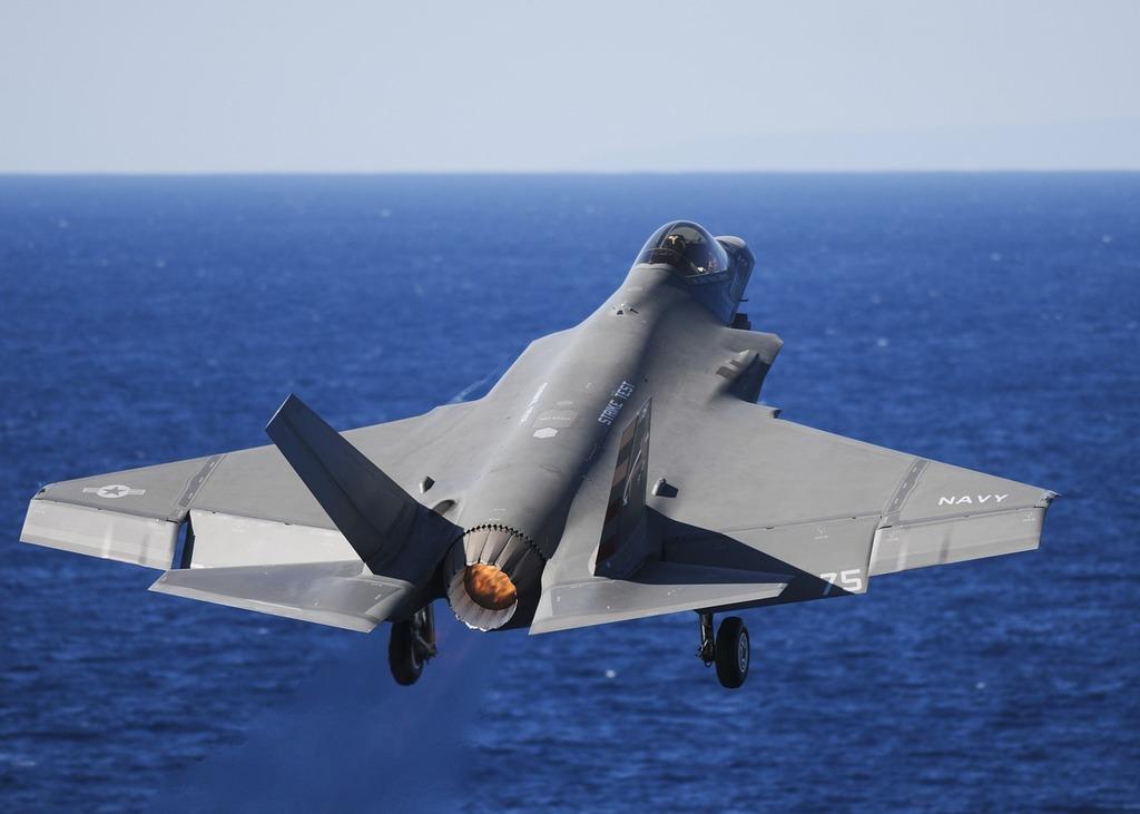 Military fighter jet test flight.