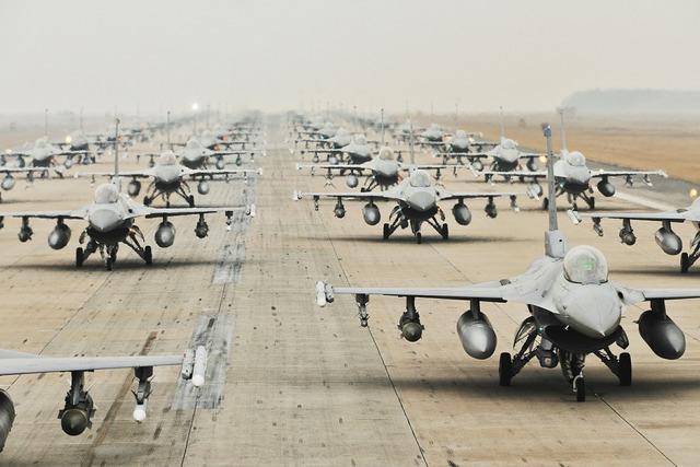 Military jets runway training.