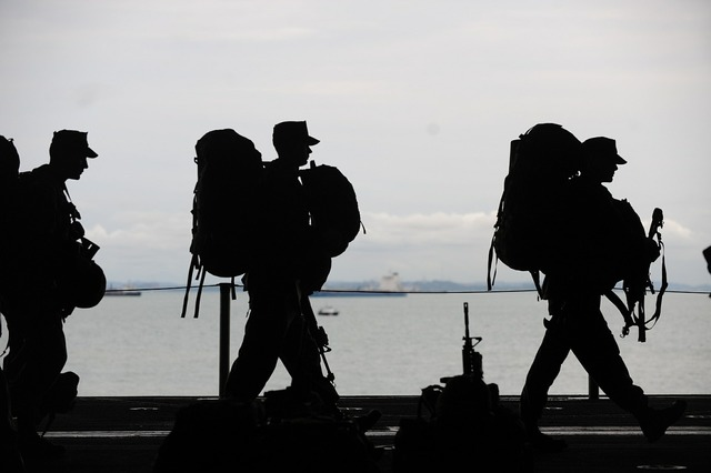 Military men departing service, people.