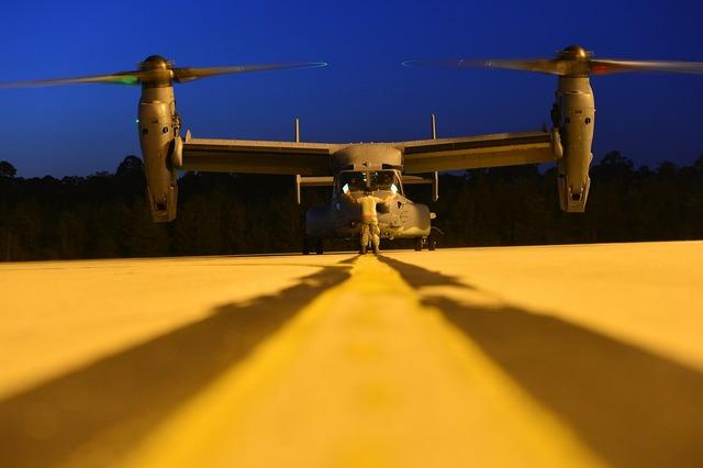 Military plane flight line osprey.