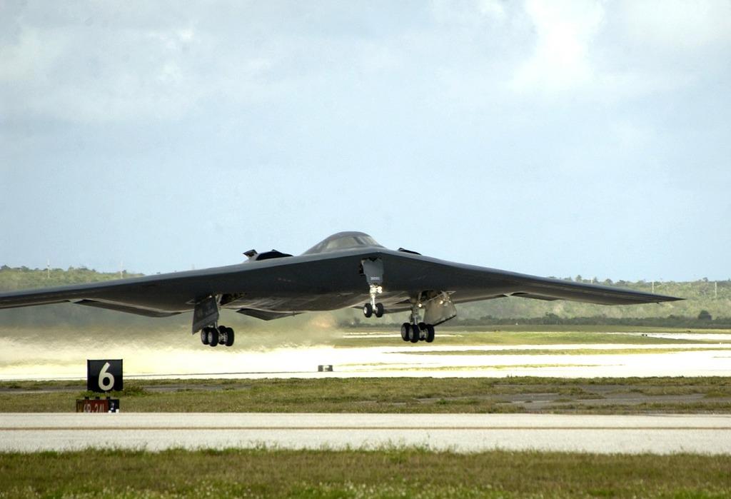 Military stealth bomber jet.