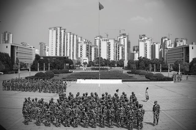 Military training campus freshman, architecture buildings.