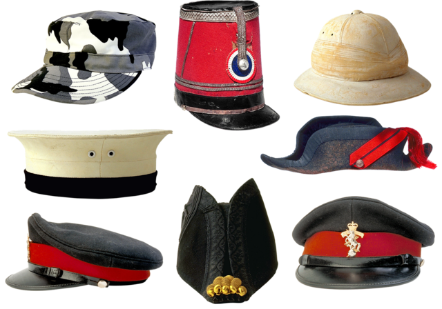 Military uniforms peaked cap kepi.