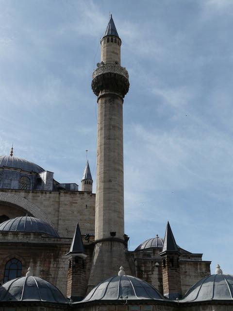 Minaret mosque roofs, architecture buildings.