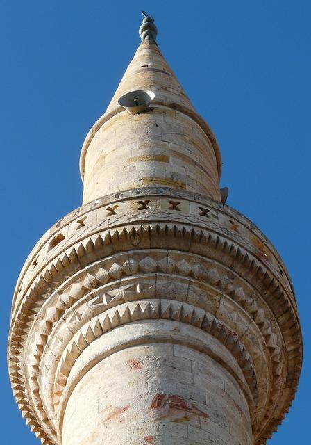 Minaret tower mosque, architecture buildings.