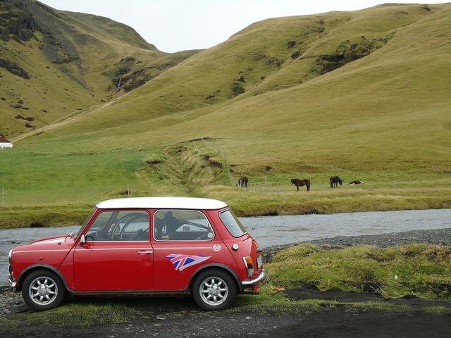 Mini cooper auto iceland, nature landscapes.