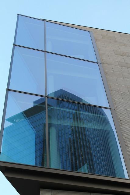 Mirroring frankfurt skyscraper, architecture buildings.