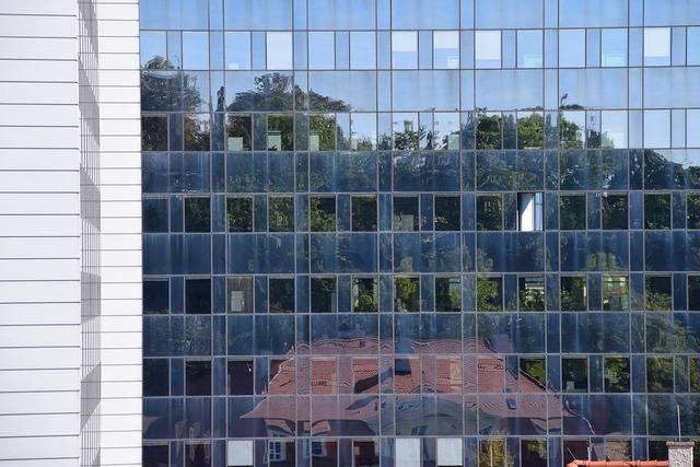 Mirroring window facade, architecture buildings.