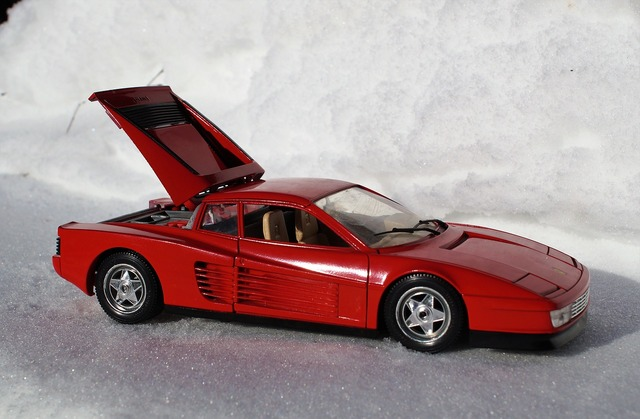 Model car ferrari testarossa, transportation traffic.