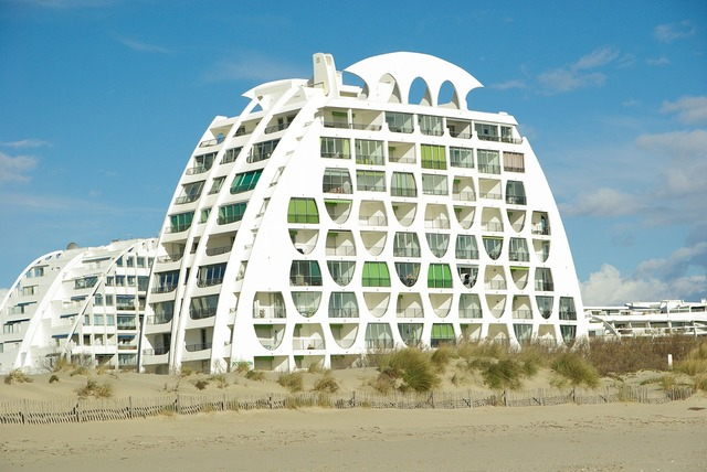 Modern architecture france beach, travel vacation.