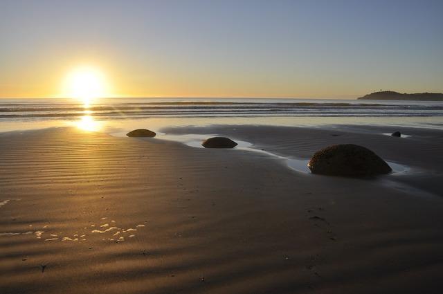 Moeraki boulders landscape beach, nature landscapes.