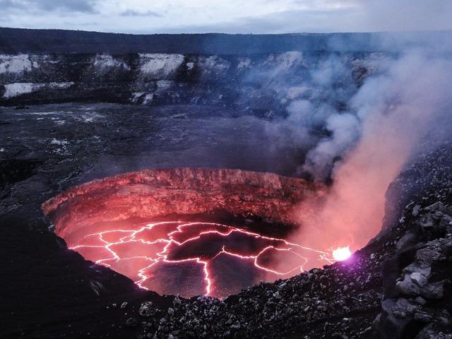 Molten volcano lava.