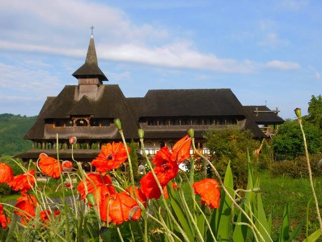 Monastery barsana romania, architecture buildings.