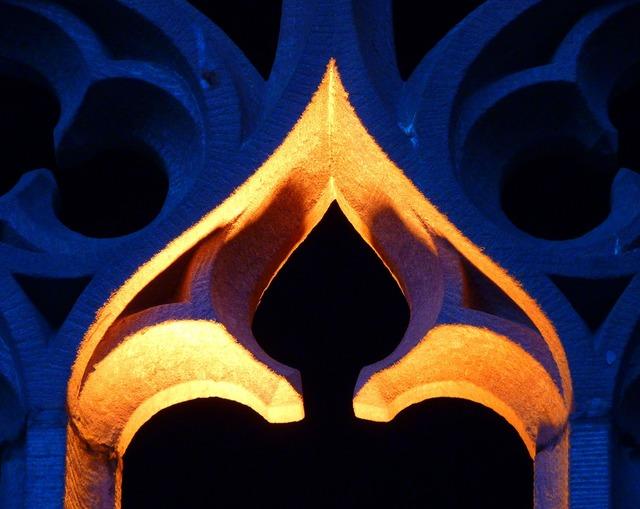 Monastery bow window night, architecture buildings.