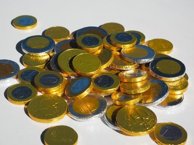 Money coins chocolate taler, business finance.