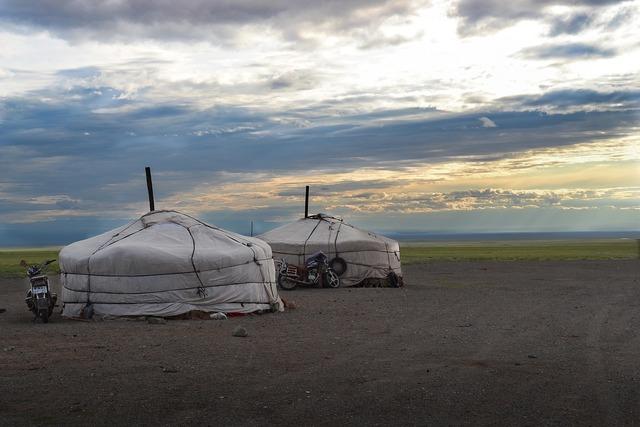 Mongolia yurts steppe.