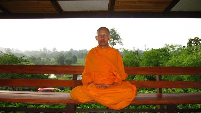 Monk buddhist meditate.