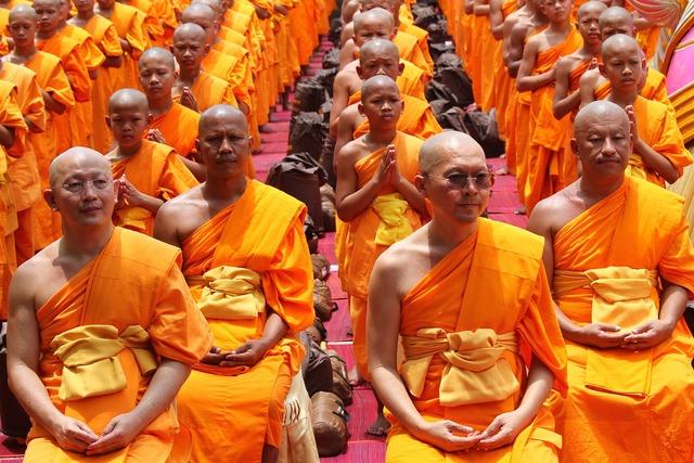 Monk buddhists sitting, people.
