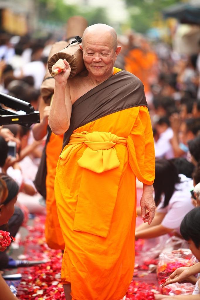 Monk buddhists walk, people.
