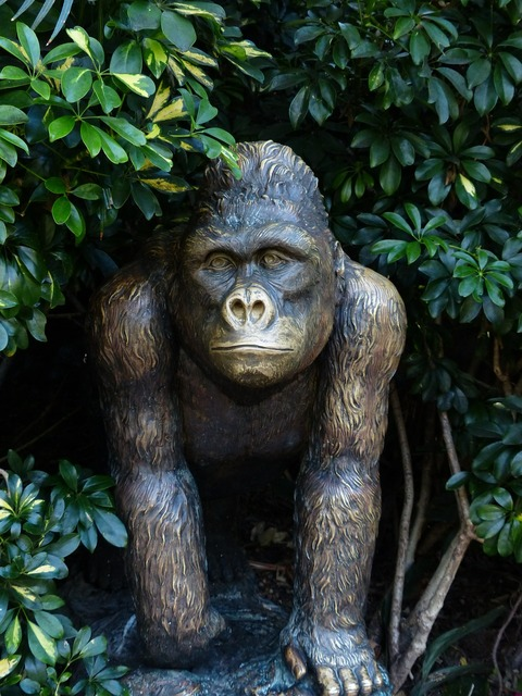 Monkey bronze statue figure, animals.