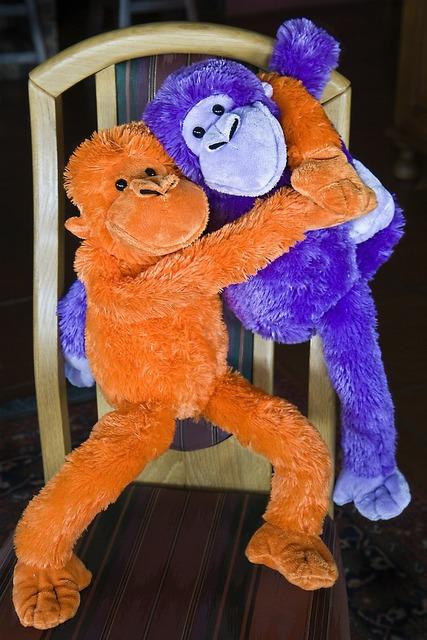 Monkey fluffy toy ape, emotions.