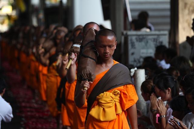 Monks buddhists walk, people.