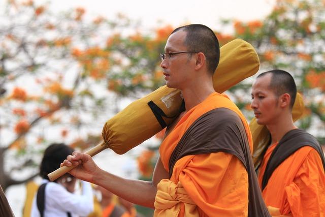 Monks orange robes, religion.