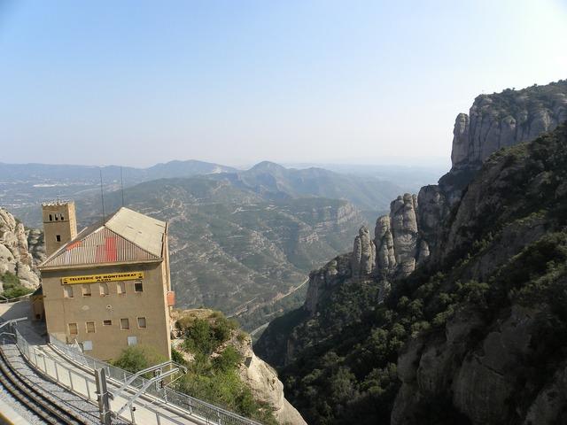Monserrat station mountains, architecture buildings.