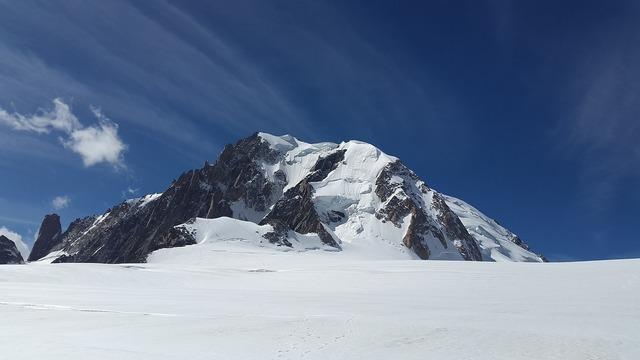 Mont blanc du tacul high mountains alpine.