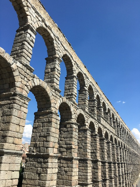 Monument aqueduct segovia, architecture buildings.