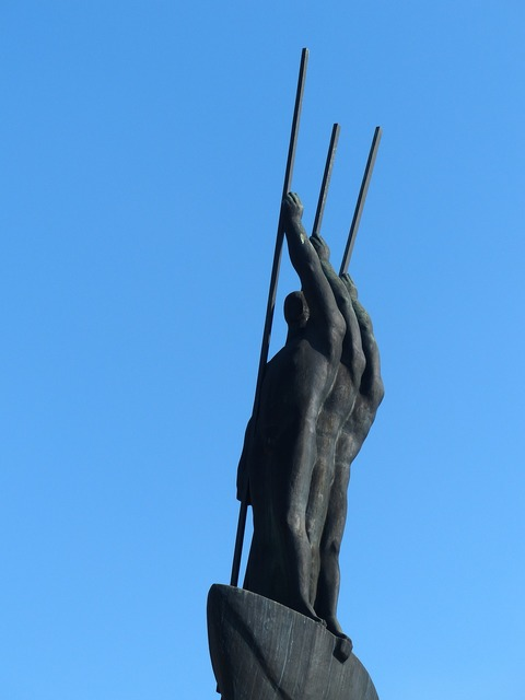 Monument bronze statue, architecture buildings.