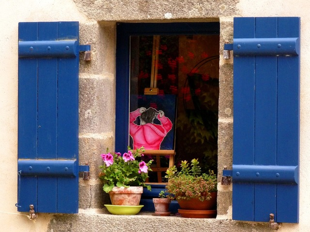 Mood window flowers, architecture buildings.
