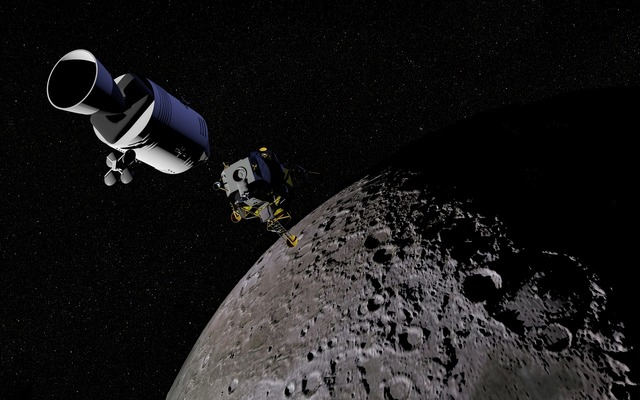 Moon satellite space capsule, science technology.