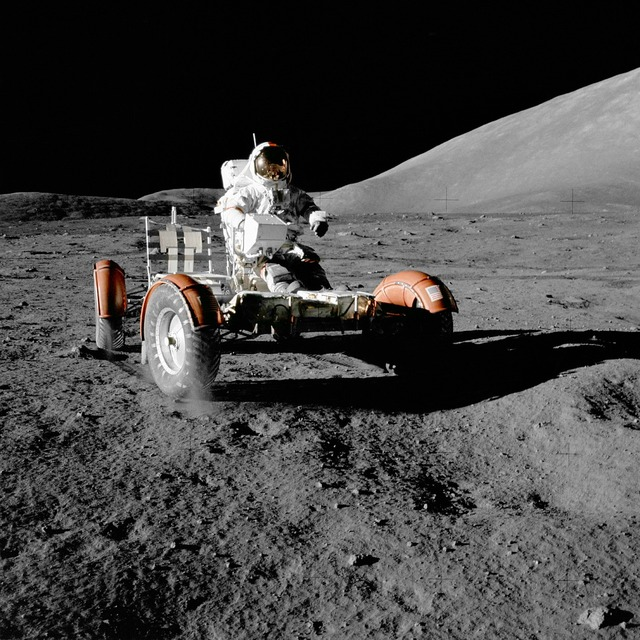 Moon vehicle astronaut space travel, science technology.