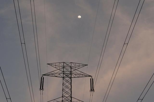 Moonrise moon electric pylon.