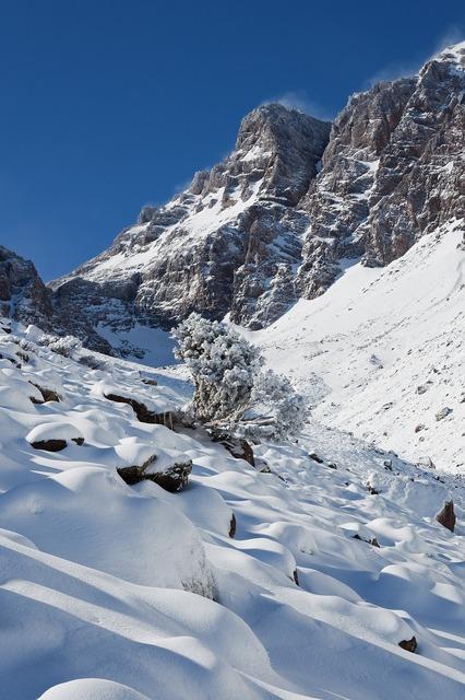 Morocco mountains snow.