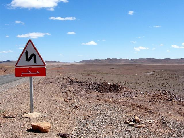 Morocco stone desert road, transportation traffic.
