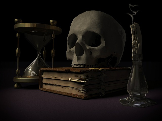 Mortality skull and crossbones vanitas.