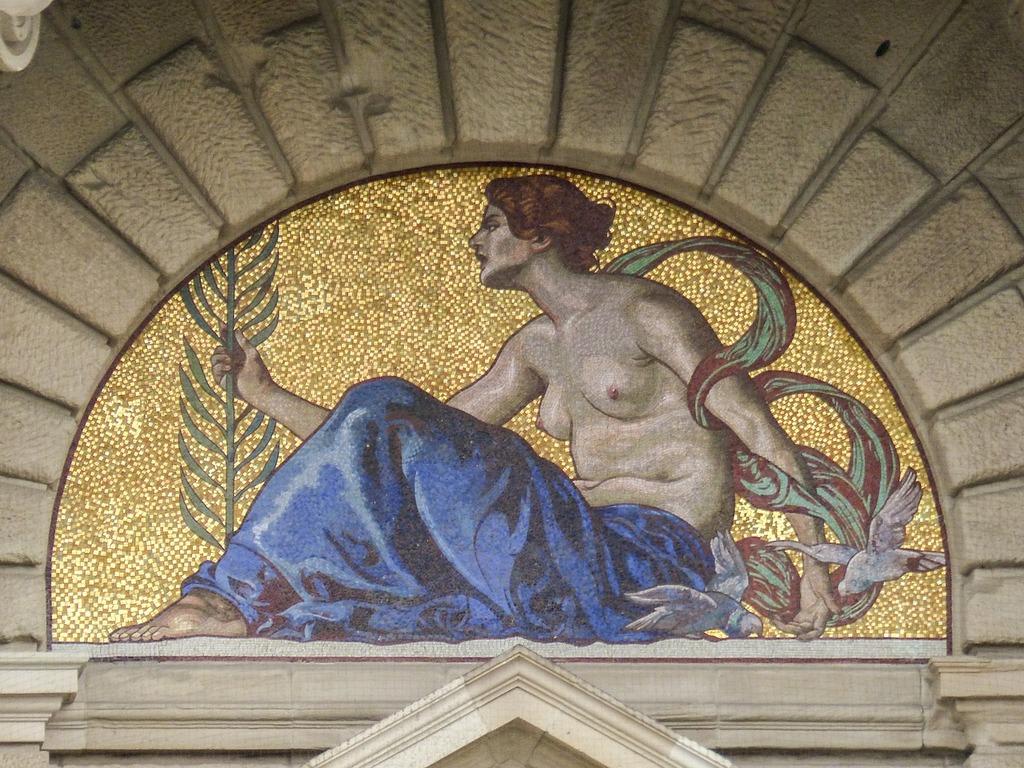 Mosaic artwork building, architecture buildings.