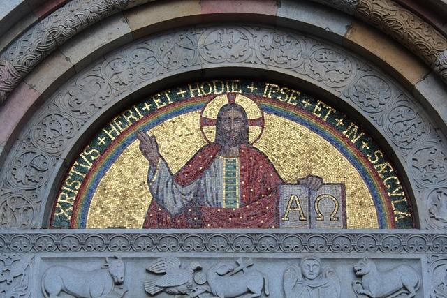Mosaic jesus christ, religion.