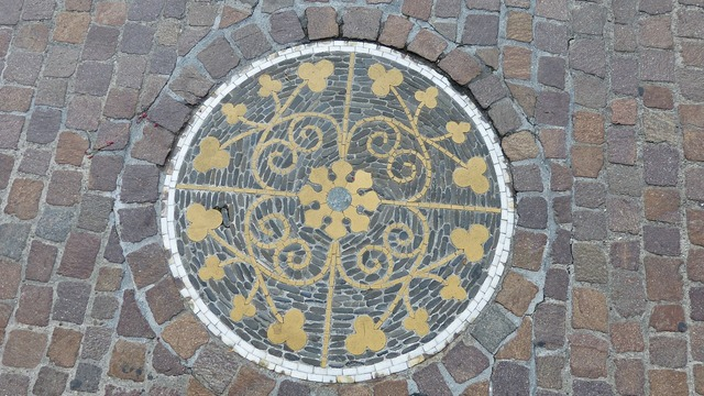 Mosaic road symbols, transportation traffic.