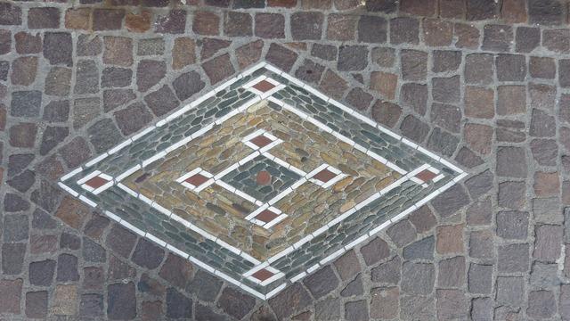 Mosaic road symbols, transportation traffic.