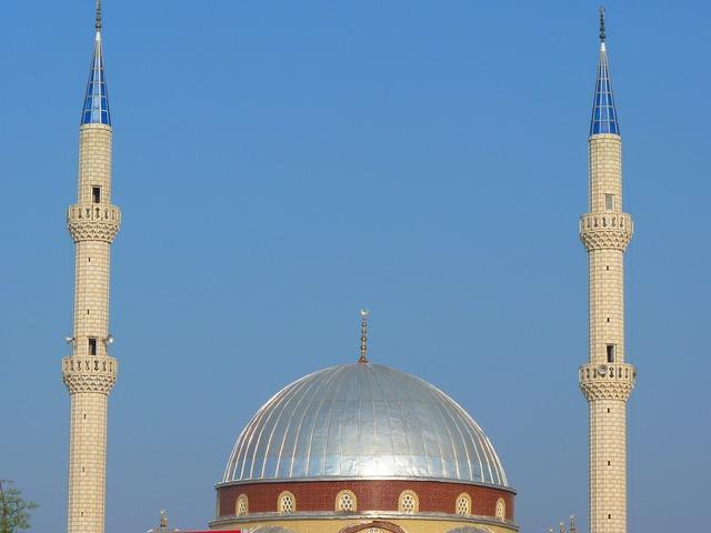 Mosque dome minaret, architecture buildings.