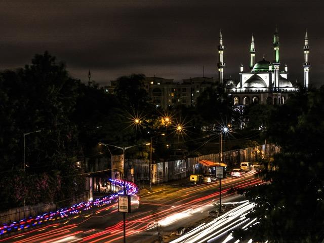 Mosque light trail night, transportation traffic.