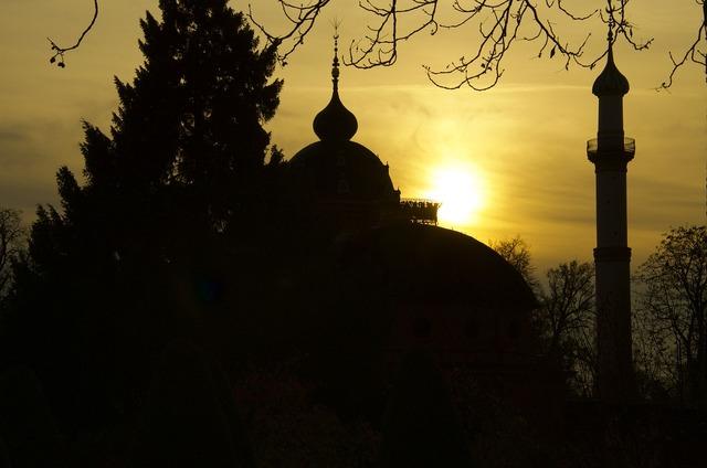 Mosque minaret schwetzingen, travel vacation.