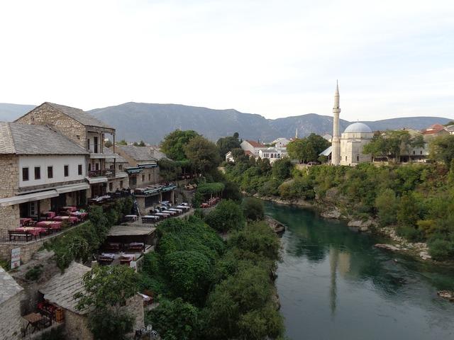 Mostar bosnia herzegovina, architecture buildings.