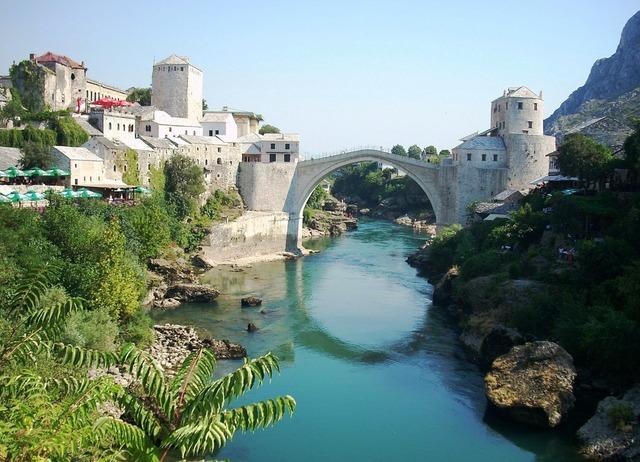 Mostar bridge river.