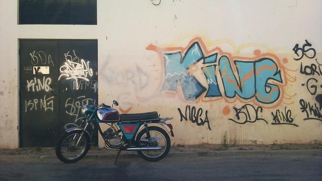 Motor bike graffiti road, transportation traffic.
