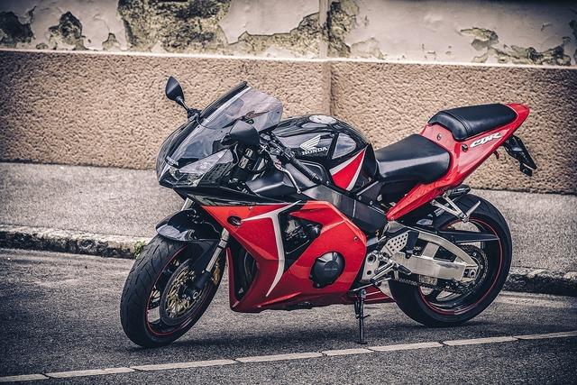 Motorbike red motorcycle, transportation traffic.
